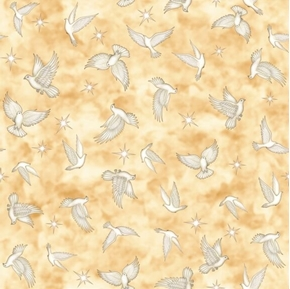 Heavenly Doves and Stars on Gold Cotton Fabric