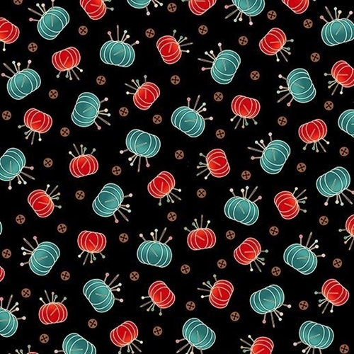 Sewing Mends the Soul Pin Cushions Red and Teal on Black Cotton Fabric