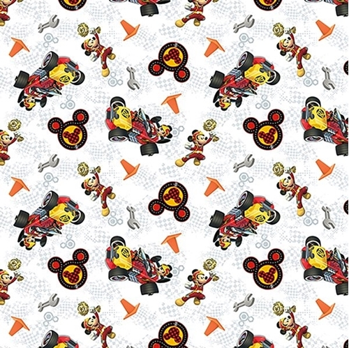 Disney Mickey and Friends Winners Circle White Cotton Fabric