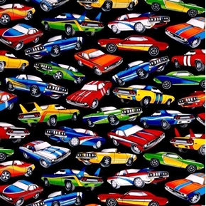 Picture of Muscle Cars Hot Rods Retro Cars on Black Cotton Fabric