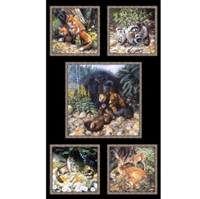 Woodland Families Bear Fox Raccoon Deer 24x44 Cotton Fabric Panel