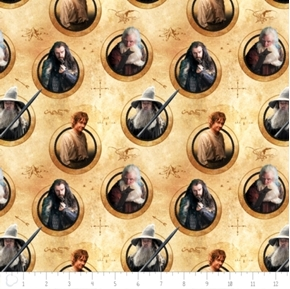 The Hobbit Characters in Circles Thorin Gandalf Bilbo Balin Cotton Fabric
