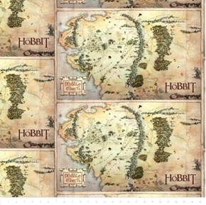 Picture of The Hobbit Middle Earth Map Lord of the Rings 24x44 Cotton Fabric Panel