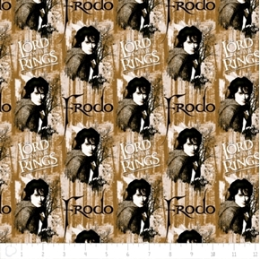 The Hobbit The Lord of the Rings Frodo Brown Cotton Fabric