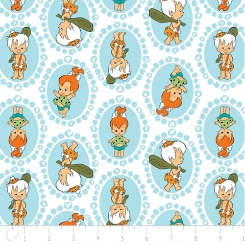 The Flintstones Pebbles and Bam Bam in Circles Lt Blue Cotton Fabric