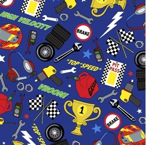 Fast Track Racing Flags Helmet Trophy Tires Tools Blue Cotton Fabric