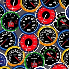 Fast Track Racing Speedometers Odometers Speed Race Grey Cotton Fabric