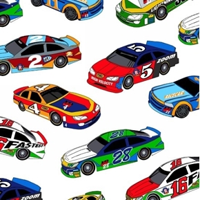 Fast Track Racing Lightning Speed Racecars White Cotton Fabric