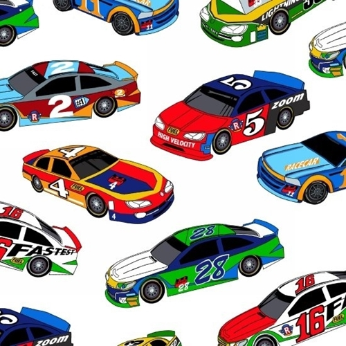 Picture of Fast Track Racing Lightning Speed Racecars White Cotton Fabric