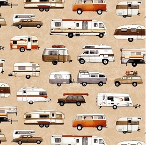 Picture of Parks and Recreation Camping RV Campers Trailers Tan Cotton Fabric