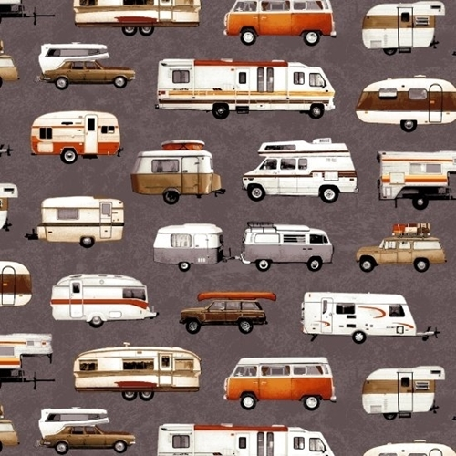 Parks and Recreation Camping RV Van Camper Trailer Grey Cotton Fabric