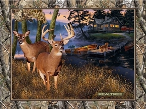 Realtree Lakeside Sunset Cabin Deer Boat Large Cotton Fabric Panel