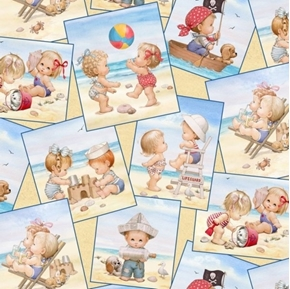 Picture of Beach Kids Patch Babies Playing at the Beach Cotton Fabric