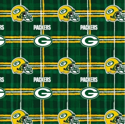 Flannel NFL Football Green Bay Packers Plaid Cotton Fabric