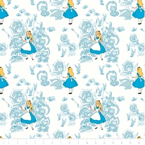 Disney Alice in Wonderland Golden Afternoon Toile Blue Cotton Fabric