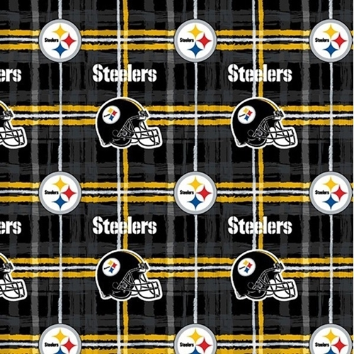 Flannel NFL Football Pittsburgh Steelers Plaid Cotton Fabric