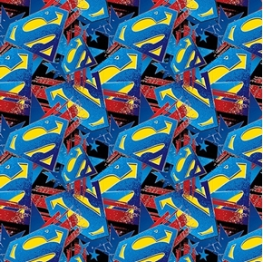 Picture of DC Comics Superman Man of Steel Logo with Stars Cotton Fabric