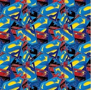 DC Comics Superman Man of Steel Logo with Stars Cotton Fabric