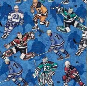 Face Off Hockey Players Playing on Blue Ice Cotton Fabric