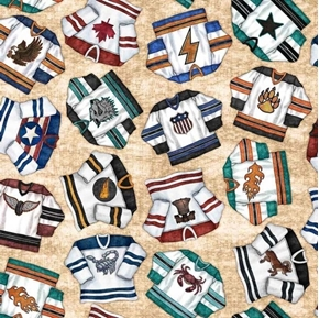 Face Off Hockey Jerseys Sport Jersey on Beige Cotton Fabric
