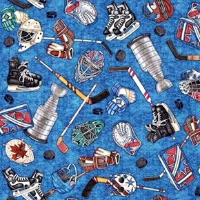 Face Off Everything Hockey Gear Stanley Cup Blue Cotton Fabric