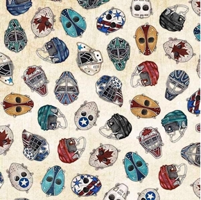 Face Off Hockey Helmets and Masks Beige Cotton Fabric