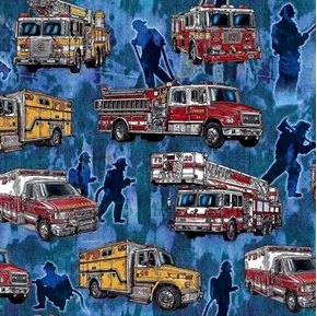 Picture of 5 Alarm Firetrucks Firefighters Ambulances Blue Cotton Fabric