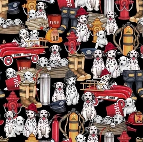 5 Alarm Dalmatians and Equipment Firefighter Dogs Black Cotton Fabric