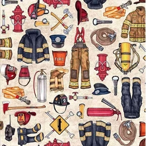 Picture of 5 Alarm Firefighter Equipment Hydrant Hose Ax Beige Cotton Fabric