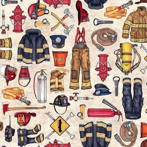 5 alarm firefighter equipment hydrant hose ax beige cotton fabric