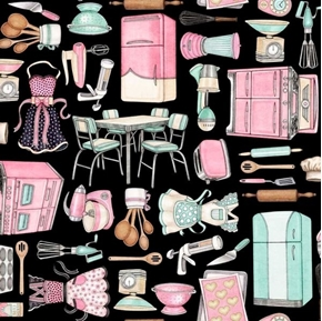 Picture of Home Sweet Home Kitchen Toss Appliances Aprons Cookware Cotton Fabric