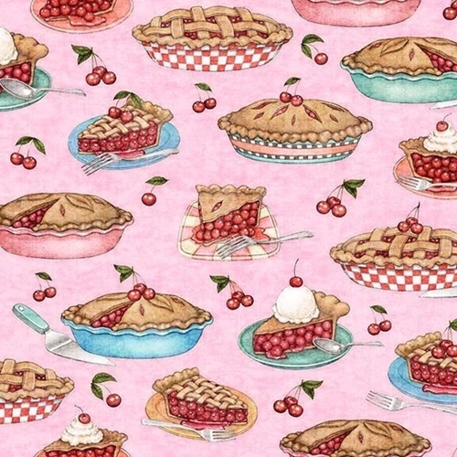 Home Sweet Home Cherry Pies Baked Pie Slices Pink Cotton Fabric