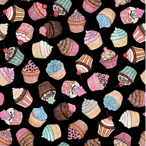 Home Sweet Home Cupcakes Iced Cupcake Toss Black Cotton Fabric