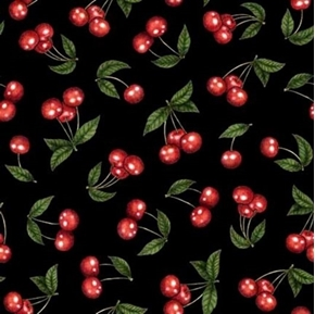 Picture of Home Sweet Home Cherries Shiny Red Cherry Fruit Black Cotton Fabric