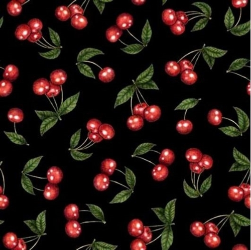 Home Sweet Home Cherries Shiny Red Cherry Fruit Black Cotton Fabric