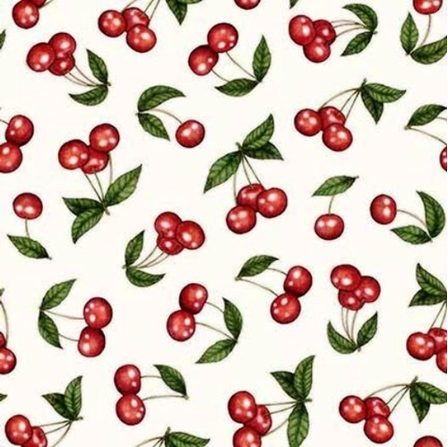 Home Sweet Home Cherries Shiny Red Cherry Fruit White Cotton Fabric