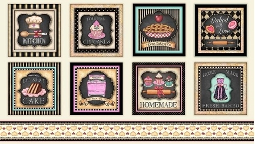Home Sweet Home Baking Desserts Large Patch 24x44 Cotton Fabric Panel
