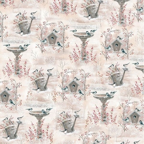 Winter Gardens Vignettes Chickadee Songbirds in Snow Cotton Fabric