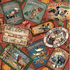 North Woods Nature Patches Signs Hunting Cabin Lodge Cotton Fabric