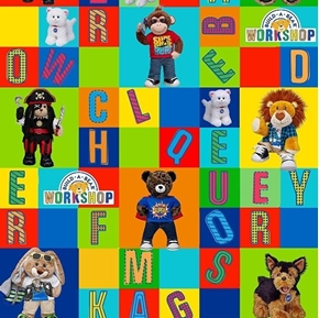 Build-A-Bear Workshop Alphabet Blocks Stuffed Animal Cotton Fabric