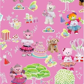 Build-A-Bear Workshop Party in the Park Birthday Pink Cotton Fabric