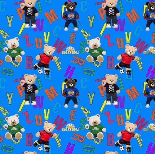Build-A-Bear Workshop Alphabet Bears Allover Blue Cotton Fabric