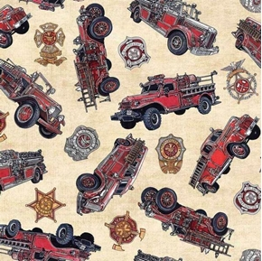 5 Alarm Vintage Firetrucks Firefighter Fire Dept Cotton Fabric