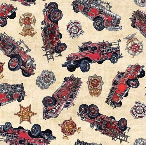 5 Alarm Vintage Firetrucks Firefighter Fire Dept Cotton Fabric