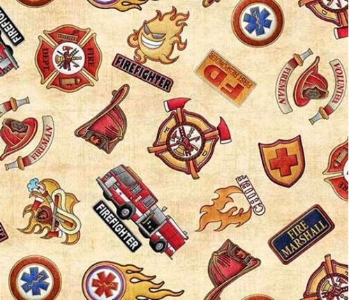 5 Alarm Shields Firefighter Hats Trucks Badges Beige Cotton Fabric