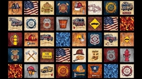 Picture of 5 Alarm Everything Firefighter Patches 24x44 Cotton Fabric Panel