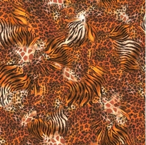 Out of Africa Safari Animal Fur Tiger Giraffe Leopard Cotton Fabric