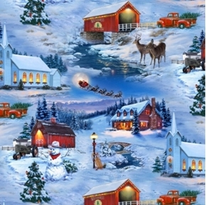 Country Christmas Snowy Holiday Scenes Blue Cotton Fabric