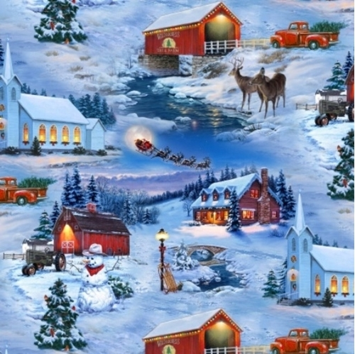 Picture of Country Christmas Snowy Holiday Scenes Blue Cotton Fabric