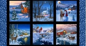Country Christmas Snowy Holiday Scenes 24x44 Cotton Fabric Panel